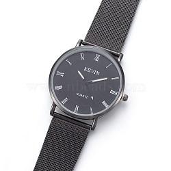 наручные часы высокого качества, кварцевые часы, головка часов из сплава и ремешок из нержавеющей стали, пушечная бронза, 9 (23 см); 17.5x1.5 мм; головка часов: 38.5x41x8 мм(WACH-I017-13B)