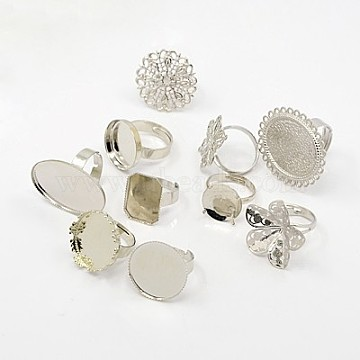 Brass Adjustable Ring Components, with Iron Findings, Mixed Style, Platinum, 17~18mm(KK-G233-M06)