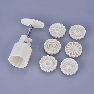 Plastic Moon Cake Moulds, Mid-Autumn Festival Hand-pressed Moon Cake Mold, Flower, Linen, 45~46x12~15mm, 6pcs/set(X-DIY-WH0143-75B)
