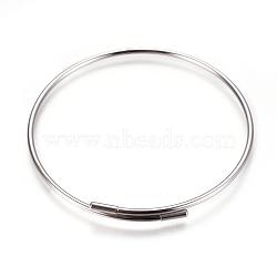 изготовление регулируемых 304 браслетов из нержавеющей стали, нержавеющая сталь цвет, 2-3 / 8 (6.2 см); 2 мм(MAK-F227-33-P)