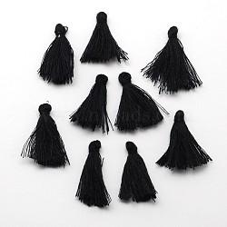 Décorations de pendentif de gland en fil de coton, noir, 25~31x5 mm; environ 39~47 PCs / sac(NWIR-P001-03H)