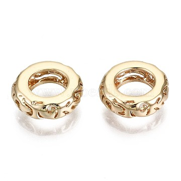Brass Beads, Nickel Free, Hollow, Ring, Real 18K Gold Plated, 9x3mm, Hole: 5mm(X-KK-T056-36G-NF)