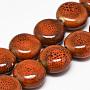 Handmade Porcelain Beads, Fancy Antique Glazed Porcelain, Flat Round, Chocolate, 14~14.5x6.5~7mm, Hole: 2.5mm