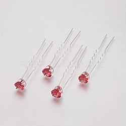 (vente de clôture défectueuse), fourches de cheveux de dame, avec du fer argenté et des strass de verre, cœur, Light Siam, 72 mm(PHAR-XCP0001-H01)