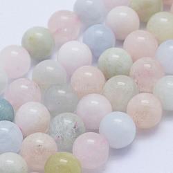 "Chapelets de perles en morganite naturelle, rond, Grade a, 8~8.5mm, trou: 1mm; environ 51 pcs/chapelet, 15.7"" (40 cm)(G-L478-32-8mm)"