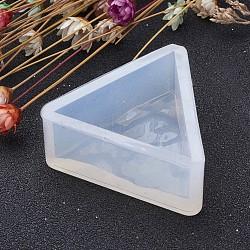 Moules en silicone triangulaires en forme de silicone, moules de résine, pour la résine UV, fabrication de bijoux en résine époxy, effacer, 34x34x16 mm(AJEW-P036-06)