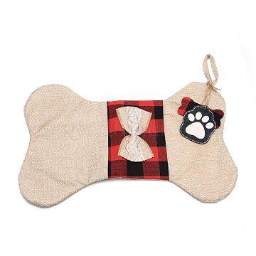 Bone Shape Cloth Socks, Plaid Pet Gift Bags, Christmas Party Decoration, Tan, 42x26.5x0.6cm(ABAG-I003-07)