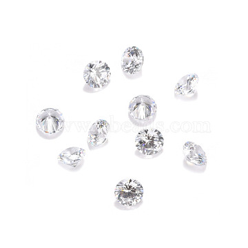Cubic Zirconia Cabochons, Grade A, Faceted, Diamond, Clear, 3x2mm(ZIRC-M002-3mm-007-A)