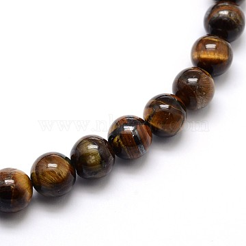 Natural Grade AB Tiger Eye Round Beads Strands, 4mm, Hole: 0.8mm, about 89pcs/strand, 15 inches(X-G-O047-02-4mm)
