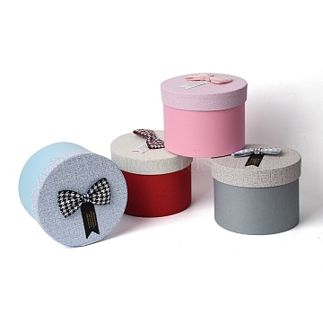 Cardboard Jewelry Boxes, with Ribbon Bowknot, Column, Mixed Color, 13.4x10cm; Inner Diameter: 12.5cm(CBOX-XCP0002-12)