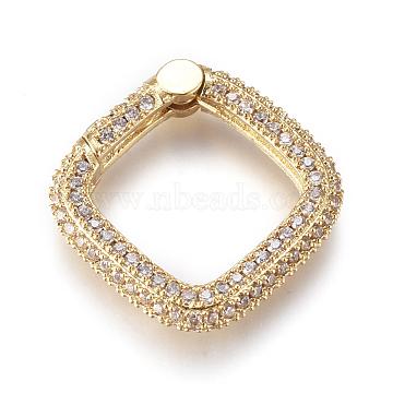 Brass Spring Gate Rings, with Clear Cubic Zirconia, Square, Golden, 20x20x4mm; Inner Diameter: 15x14mm(KK-D159-23G)