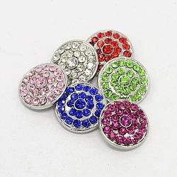 Platine environnement de grade A en alliage de zinc strass plat bijoux ronde boutons pression, sans plomb et sans nickel, couleur mixte, 20x7.5 mm; bouton: 5 mm(X-SNAP-M043-M-FF)