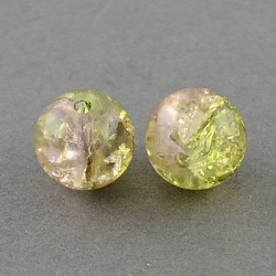 "Chapelets de perles en verre craquelé peints à la bombe, rond, lightyellow, 4 mm; trou: 1.1~1.3 mm; environ 200 pcs / brin, 31.4""(X-CCG-Q002-4mm-05)"