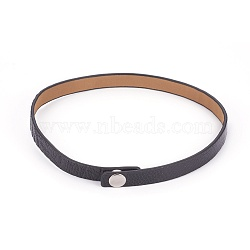 Ostrich Skin Leather Choker Necklace, Black, 14.8inches(37.7cm)(NJEW-G326-01)