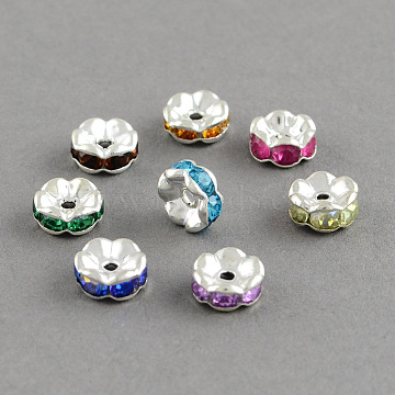 Brass Grade A Rhinestone Bead Spacers, Flat Round, Mixed Color, 8x3.5mm, Hole: 1.5mm(X-RB-S033-B)