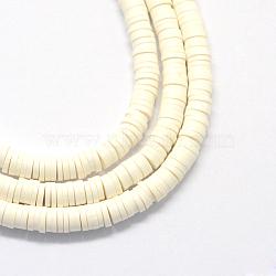 Perles artisanales à l'argile polymère artisanales, disque / rond plat, perles heishi, blanc, 6x1 mm, trou: 2 mm; environ 380~400 perle / brin, 17.7(X-CLAY-R067-6.0mm-17)
