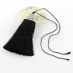 Décorations de pendentif pompon en polyester avec des accessoires en plastique CCB d'argent antique, noir, 80x20x11mm(AJEW-R054-01)