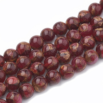 Natural Chalcedony Beads Strands, Imitation Gold Clinquant Stone, Dyed & Heated, Round, Red, 6~7mm, Hole: 1mm; about 60~67pcs/strand, 15.7 inches(G-S333-6mm-014D)