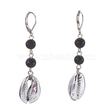Natural Lava Rock Leverback Earrings, Faceted, with Sea Shell Beads, Iron Eye Pin and Brass Leverback Earring Findings, 57~60mm, Pendant: 18~19x13~13.5x6~7mm(EJEW-JE02819-01)