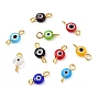 Handmade Lampwork Beads Links, with Golden Plated Brass Eye Pin, Flat Round with Evil Eye, Mixed Color, 13x6x2.5mm, Hole: 1.6~2.2mm