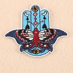 Tissu de broderie informatisé fer/coudre sur les patchs, accessoires de costumes, appliques, papillon / main hamsa / main de fatima / main de miriam, bleu foncé, 68x77mm(X-DIY-F038-H02)