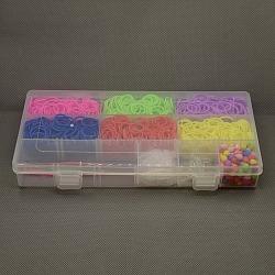 1500 pcs / boîte de bricolage groupes de métiers à tisser en caoutchouc recharges avec accessoires, couleur mixte, 220x105x32mm(DIY-X0005-B)