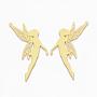 латунные большие кулоны, фея, золотой, 58x30x0.3 mm, отверстия: 1.4 mm