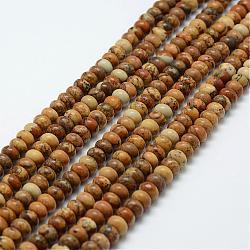 Chapelets de perles en jaspe avec images naturelles, rondelle, 6x4mm, trou: 1mm; environ 96~97 pcs/chapelet, 15.3'' (39 cm)(G-G665-01-6x4mm)
