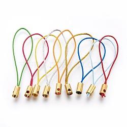 Нейлоновый шнур мобильные ремни, с выводами латунных золотой тон, cmешанный цвет, 50x4 mm; отверстия: 1.8 mm(MOBA-F005-03G)