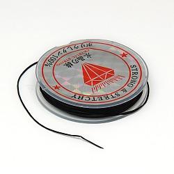 Chaîne de cristal élastique plat, Fil de cordon cordon de cristal, noir, 0.6 mm; 10 m / rouleau(EW-F001-14)