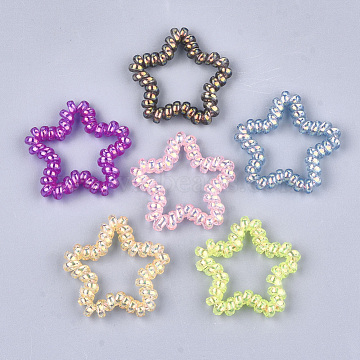 Plastic Telephone Cord Elastic Hair Ties, Ponytail Holder, Star, Mixed Color, 40~42x41~44x6mm(OHAR-T006-23A)