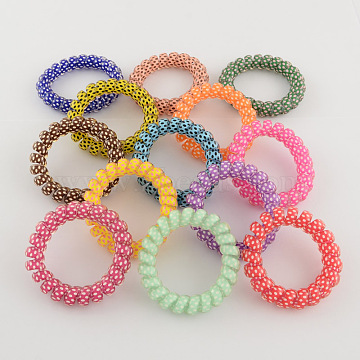 Printed Plastic Telephone Cord Elastic Hair Ties, Ponytail Holder, Mixed Color, 35mm(OHAR-R111-15)