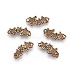 réglages du connecteur en alliage, les paramètres d'émail, étoiles, bronze antique, 8.5x19.5x1.5 mm, trou: 1.2 mm(PALLOY-WH0053-02AB)