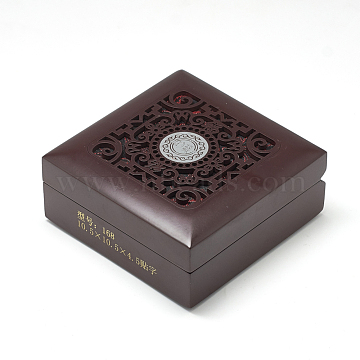Wooden Bracelet Boxes, with Cloth Inside, Square, CoconutBrown, 10.5x10.5x4.5cm(OBOX-Q014-03A)