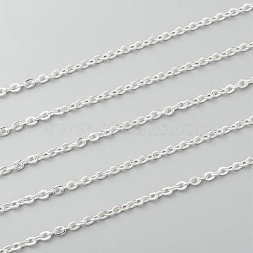 304 Stainless Steel Cable Chains, Soldered, without Spool/Card Paper, Flat Oval, Silver, 4x3x0.6mm, about 6.56 Feet(2m)/strand(CHS-S006-JA607-1)