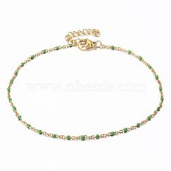 304 bracelets de cheville en acier inoxydable, avec des liens en émail, or, lawngreen, 9 (23 cm); 1.5~2 mm(X-AJEW-H010-01G)