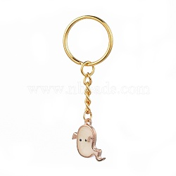 Halloween, Alloy Enamel Keychain, with Iron Key Clasp, Ghost, Golden, White, 70mm