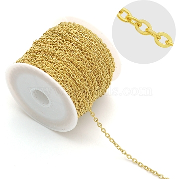 304 Stainless Steel Cable Chains, Soldered, without Spool/Card Paper, Flat Oval, Golden, 3x2.3x0.5mm, about 6.56 Feet(2m)/strand(CHS-S006-JA606-3)
