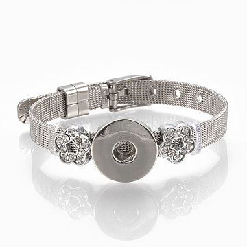 Alloy Rhinestone Snap Cord Bracelet Making, with Snap Buttons, Flower, Platinum, 8-7/8 inches(22.5cm), 8mm; Fit snap button in 5~6mm knob.(X-BJEW-S136-03)