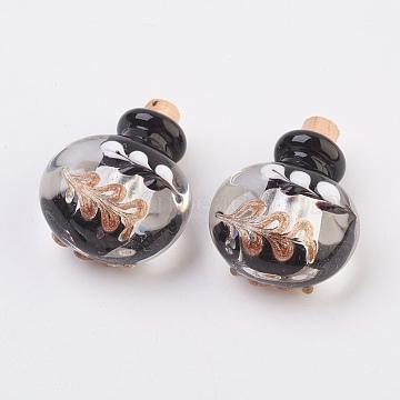 pendentifs de bouteille de parfum fait main, bouteille d'huile essentielle, avec du sable d'or, noir, 29.5~30 mm, trou: 5 mm(FOIL-P001-A06)