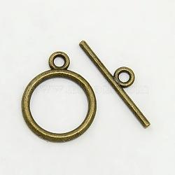 Fermoirs T de style tibétain , sans plomb et sans cadmium et sans nickel, anneau, bronze antique, taille: anneau: environ 15 mm de diamètre, épaisseur de 2mm, Trou: 2mm, bar: 21 mm de long, Trou: 2mm(X-TIBEP-A12208-AB-FF)