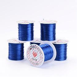 chaîne de cristal élastique plat, fil de perles élastique, pour la fabrication de bracelets élastiques, mediumblue, 1 mm, 10 m / rouleau(EW-S002-02)