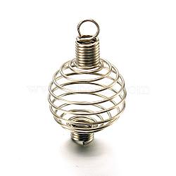 Spirale en acier perles cages pendentifs faisant, rond, couleur inoxydable, 34x21mm, Trou: 4.5mm(X-STAS-A031-01)