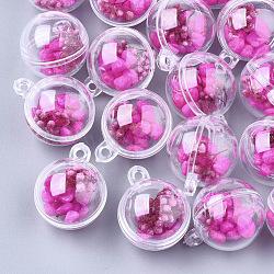 Пластиковые шариковые подвески, с сухими цветами и синтетической бирюзой, круглые, темно-розовые , 31x25x25 мм, отверстие : 2.5 мм(KY-T004-05D)