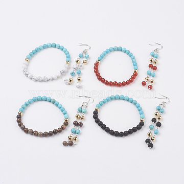 Natural & Synthetic Gemstone Jewelry Sets, Bracelets & Earrings, with Brass Findings, 2-1/4 inches(56mm), 86mm, Pin: 0.7mm(SJEW-JS00953)