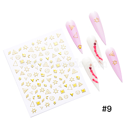 Metallic Color Nail Art Stickers, Self-adhesive, For Nail Tips Decorations, Gold, 9x8cm(X-MRMJ-Q067-DP664)