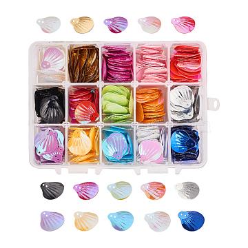 NBEADS Ornament Accessories, Plastic Paillette/Sequins Beads, Shell Shape, Mixed Color, 14x10.8x3cm; 750pcs/box(PVC-NB0001-01)