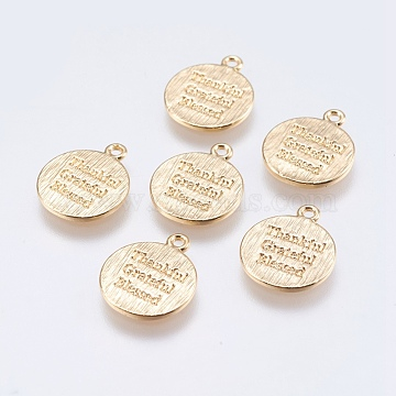 Brass Quote Charms, Flat Round with Word Thankful Grateful Blessed, Real 18K Gold Plated, 13x12x0.8mm, Hole: 1.2mm(KK-F740-20G)