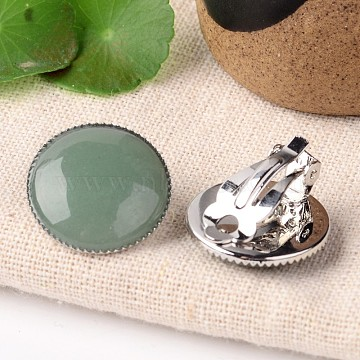 Natural Green Aventurine Dome/Half Round Clip-on Earrings, with Platinum Plated Brass Findings, 21mm(EJEW-J090-06)