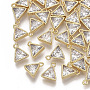 Brass Micro Pave Cubic Zirconia Charms, Nickel Free, Triangle, Clear, Real 18K Gold Plated, 9x8x3mm, Hole: 1mm